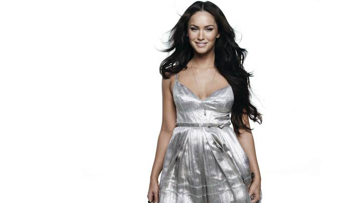 Megan Fox Smiling In Silver Dress N White Background
